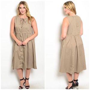 ❗️CLOSING SALE❗️ PLUS: Mocha Midi Sleeveless Dress